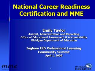 National Career Readiness Certification and MME