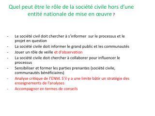 Quel peut être le rôle de la société civile hors d'une entité nationale de mise en œuvre ?