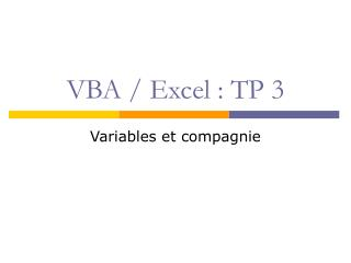 VBA / Excel : TP 3