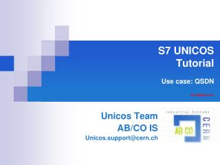 S7 UNICOS  Tutorial  Use case: QSDN  S7-UNICOS v2.7