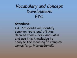 Vocabulary and Concept Development  EDI