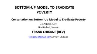 BOTTOM-UP MODEL TO ERADICATE POVERTY