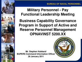 Military Personnel - Pay Functional Leadership Meeting  Business Capability Governance Program in Support of Active and
