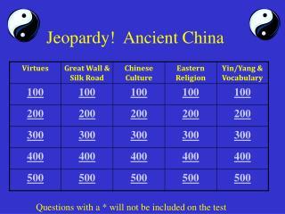 Jeopardy!  Ancient China