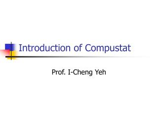 Introduction of Compustat