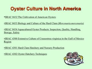 Oyster Culture in North America