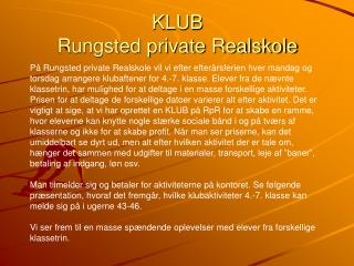 KLUB  Rungsted private Realskole