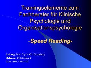 Leitung:  Dipl. Psych. Ch. Eichenberg Referent:  Dirk Melmert SoSe 2003 – 01/07/03