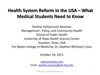 Health System Reform in the USA – What Medical Students Need to Know