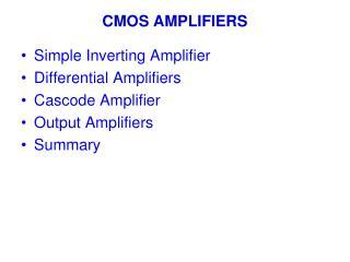 CMOS AMPLIFIERS