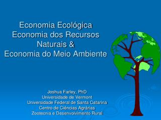 Economia Ecológica Economia dos Recursos Naturais & Economia do Meio Ambiente