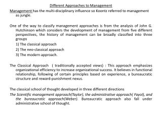 Different Approaches to Management