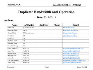 Duplicate Bandwidth and Operation
