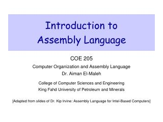 Introduction to Assembly Language