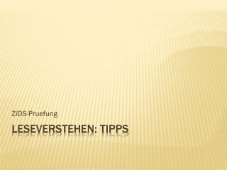 Leseverstehen :  Tipps
