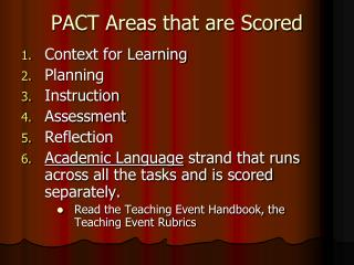 PACT Areas that are Scored