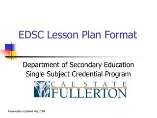 EDSC Lesson Plan Format