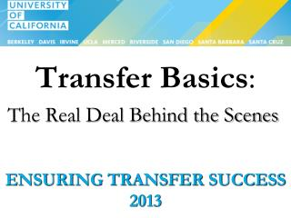 Ensuring Transfer Success 2013