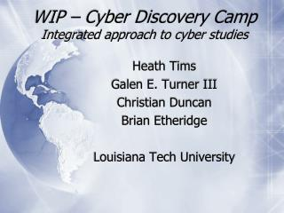 WIP – Cyber Discovery Camp Integrated approach to cyber studies