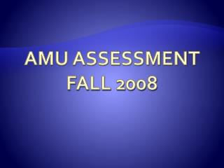 AMU ASSESSMENT FALL 2008