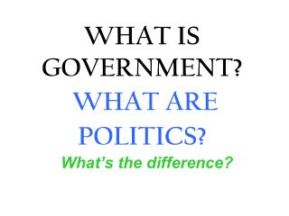 WHAT IS GOVERNMENT? WHAT ARE POLITICS?