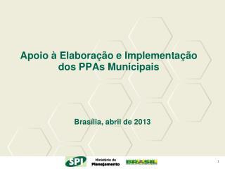 Apoio à Elaboração e Implementação dos  PPAs  Municipais