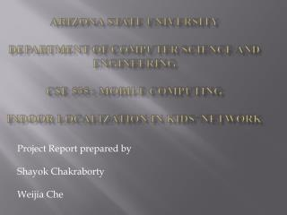 Project Report prepared by Shayok Chakraborty Weijia Che