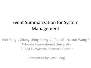 Event Summarization for System Management