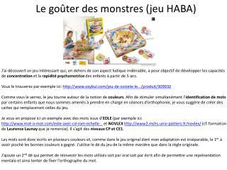 Le goûter des monstres (jeu HABA)