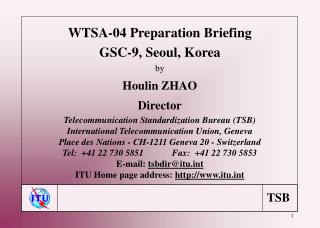 WTSA-04 Preparation Briefing GSC-9, Seoul, Korea by Houlin ZHAO Director