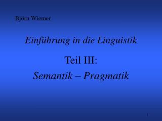 Einführung in die Linguistik
