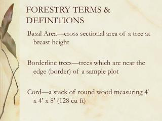 FORESTRY TERMS & DEFINITIONS