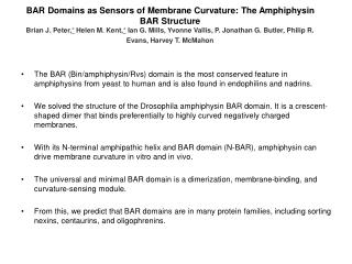 BAR Domains as Sensors of Membrane Curvature: The Amphiphysin BAR Structure  Brian J. Peter, Helen M. Kent, Ian G. Mills