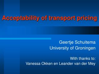 Acceptability of transport pricing