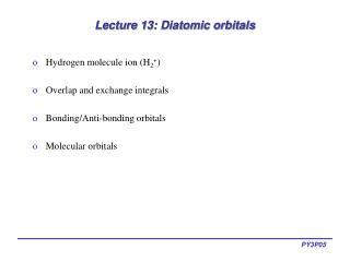 Lecture 13: Diatomic orbitals