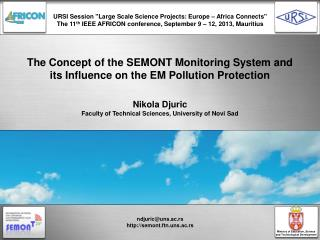 The Concept of the SEMONT Monitoring System and its Influence on the EM Pollution Protection