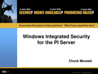 Windows Integrated Security for the PI Server
