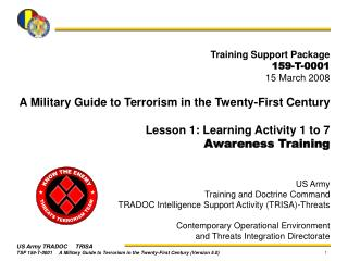 Training Support Package 159-T-0001 15 March 2008