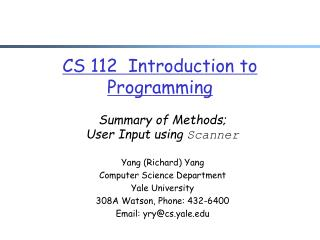 CS 112  Introduction to Programming