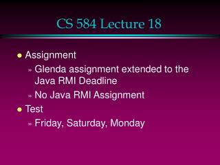 CS 584 Lecture 18