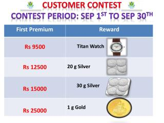 CUSTOMER  CONTEST Contest Period: Sep 1 st  to Sep 30 th