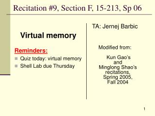 Recitation #9, Section F, 15-213, Sp 06