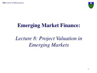 Emerging Market Finance:  Lecture 8: Project Valuation in Emerging Markets