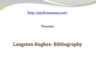 Langston Hughes- Bibliography