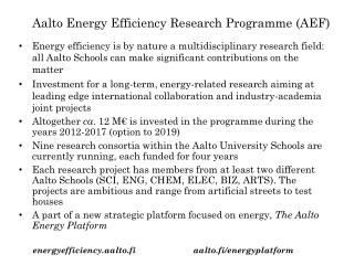 Aalto Energy  Efficiency Research Programme  (AEF)
