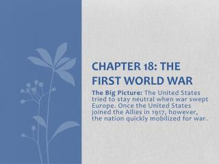 Chapter 18: The First World War