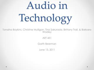 Audio in Technology