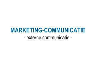 MARKETING-COMMUNICATIE