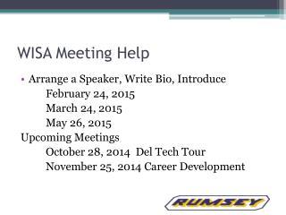 WISA Meeting Help