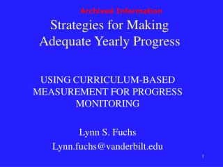 Strategies for Making  Adequate Yearly Progress